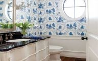 Bathroom Wallpaper Blue 25 Decoration Inspiration