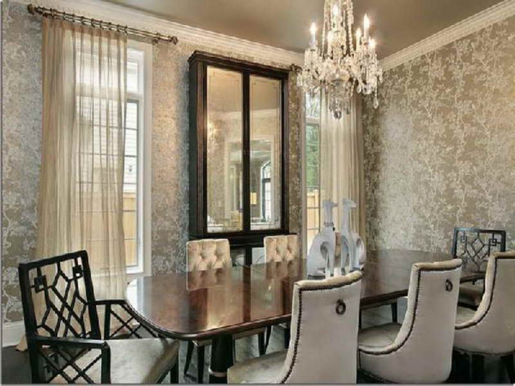Beautiful dining room wallpaper 15 decoration idea for Dinner room decoration