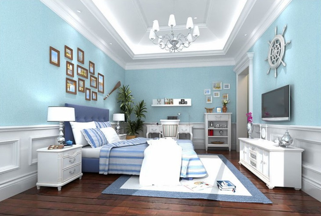 Blue wallpaper for bedrooms weifeng furniture for Blue wallpaper designs for bedroom