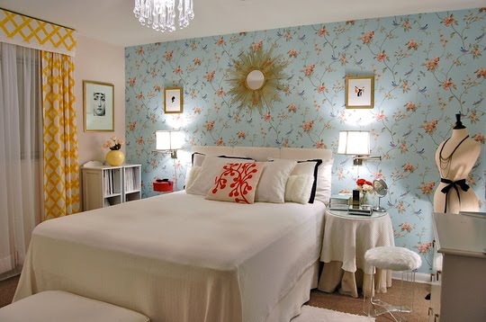 Bedroom Wallpaper Blue Architecture EnhancedHomesorg - Blue bedroom wallpaper ideas