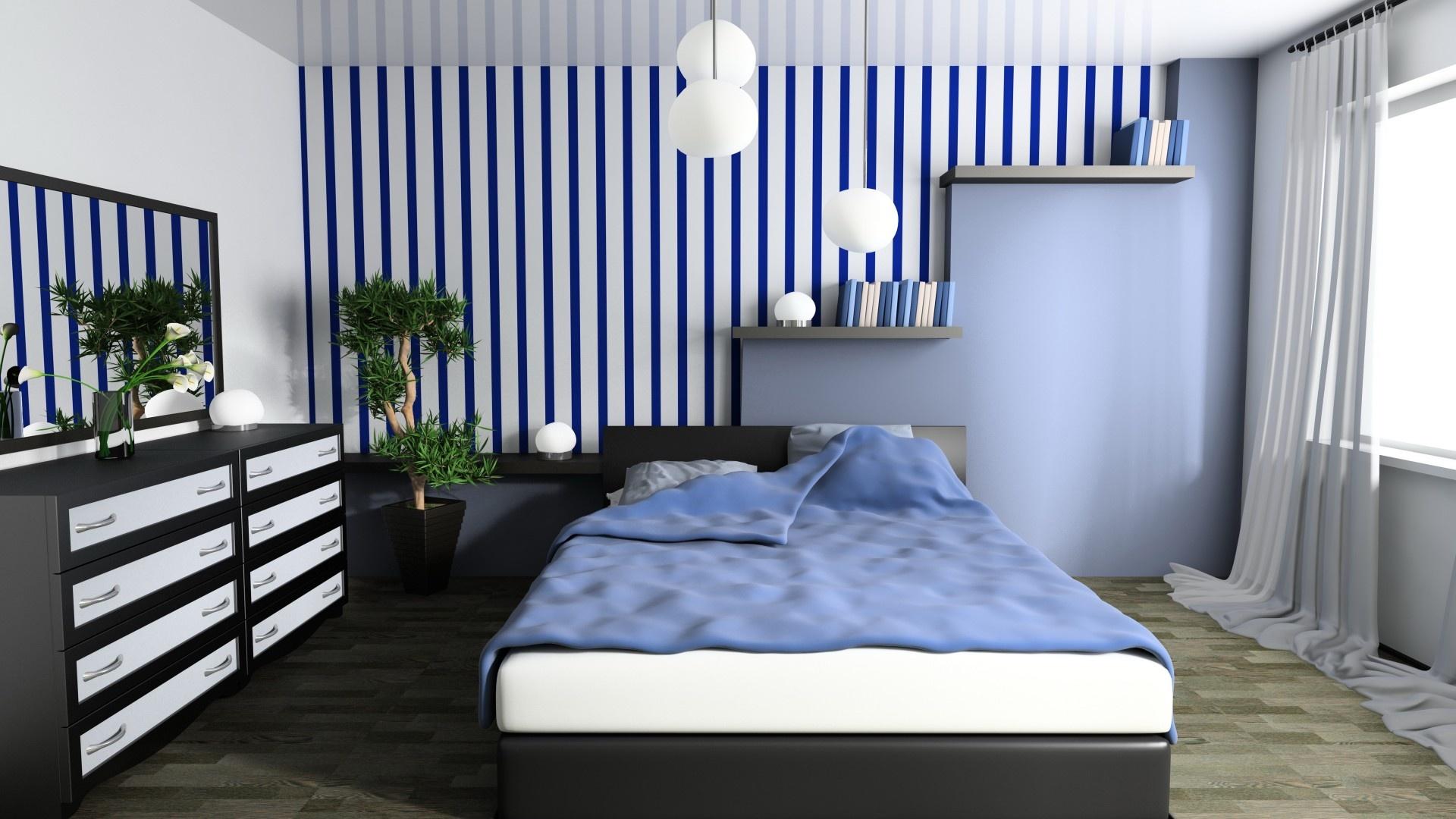Blue Bedroom Interior Design Hd Wallpaper New Hd Wallpapers