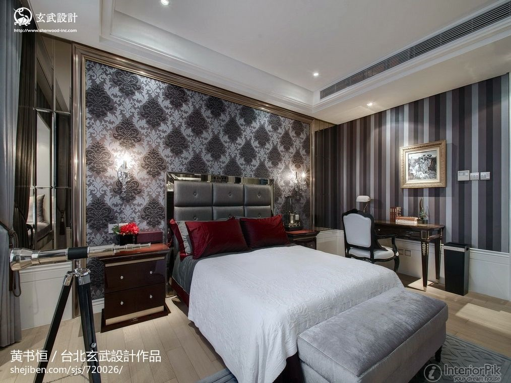 Patterned wallpaper for bedrooms weifeng furniture for Bedroom wallpaper patterns