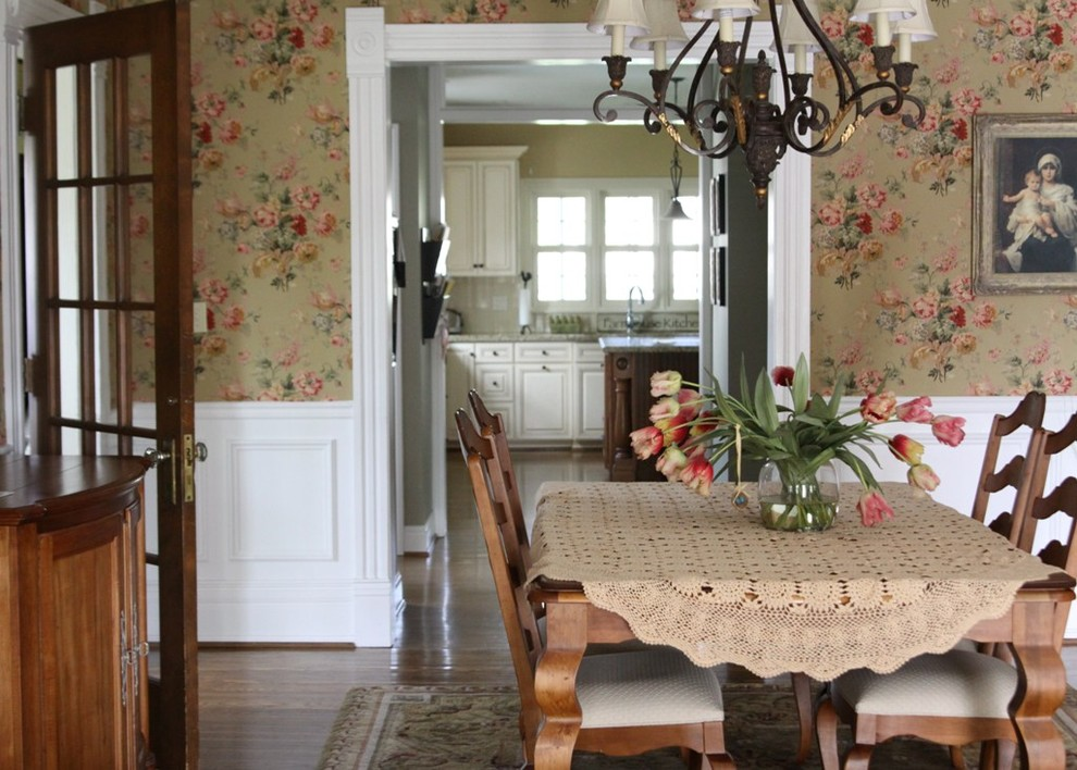 Wallpaper For Dining Room Ideas Part - 27: Country Dining Room Wallpaper Renovationg Ideas