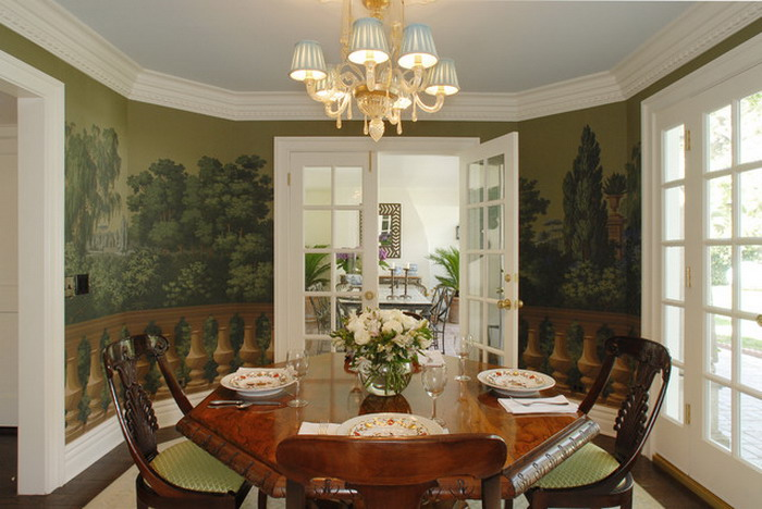 Dining room wallpaper designs 2 ideas for Dining room mural wallpaper