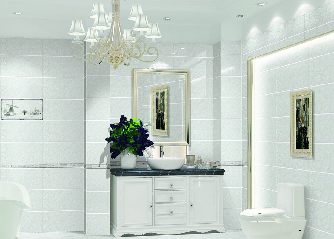 Elegant bathroom wallpaper 13 ideas for Bathroom designs drawing