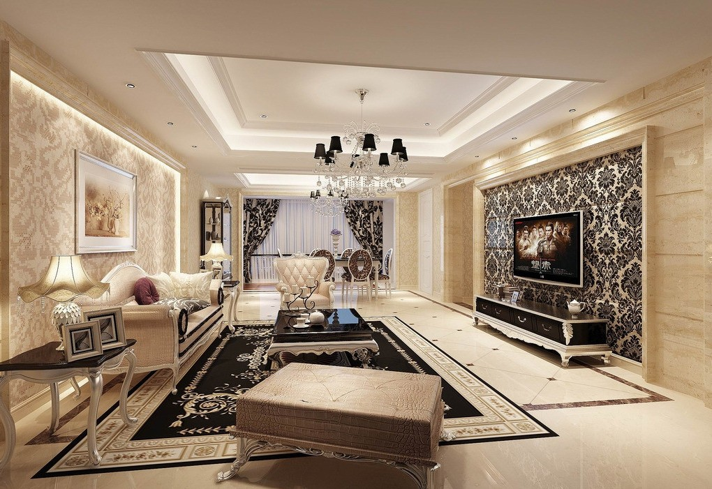 Elegant Living Room Wallpaper Renovating Ideas
