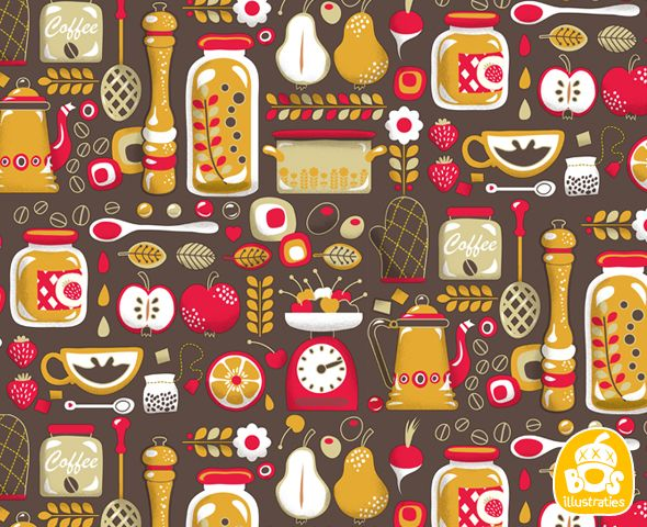 Vintage kitchen wallpaper 34 designs for Kitchen wallpaper patterns