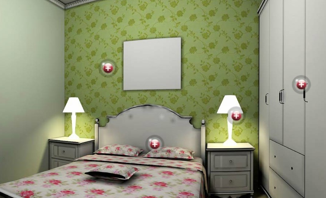 Bedroom wallpaper green 21 home ideas for Bedroom designs wallpaper