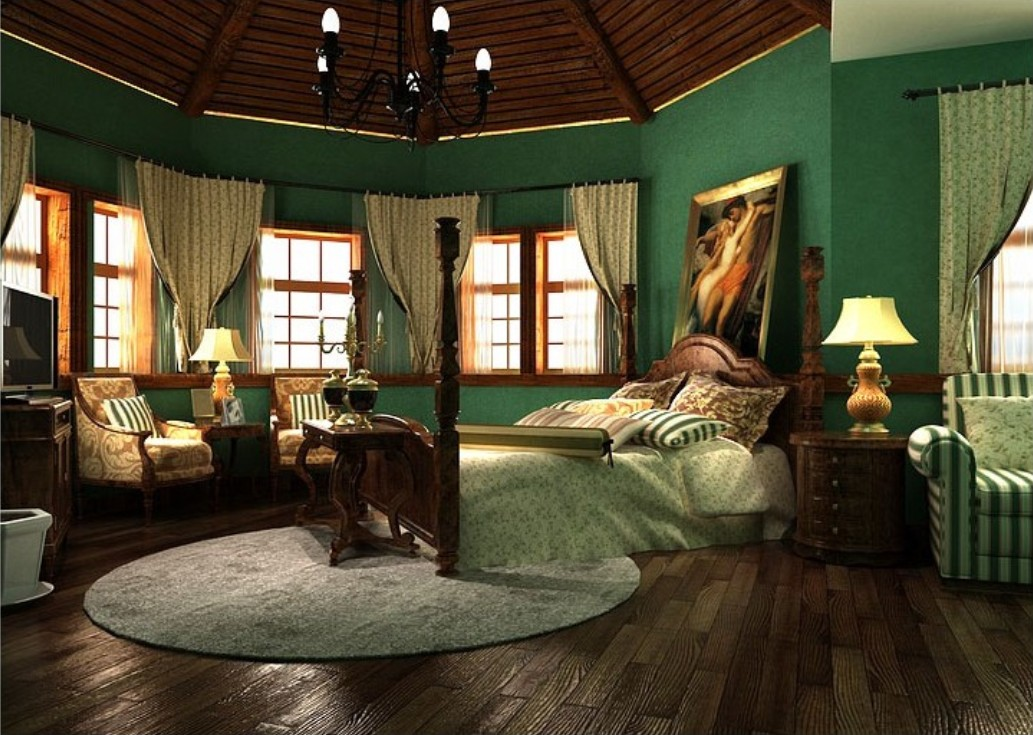 Bedroom wallpaper green 30 decor ideas for Dark brown bedroom designs