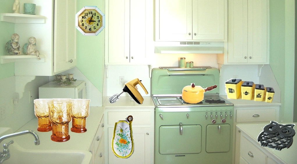 Kitchen wallpaper retro 16 decoration inspiration - Fetching images of blue and yellow kitchen design and decoration ideas ...