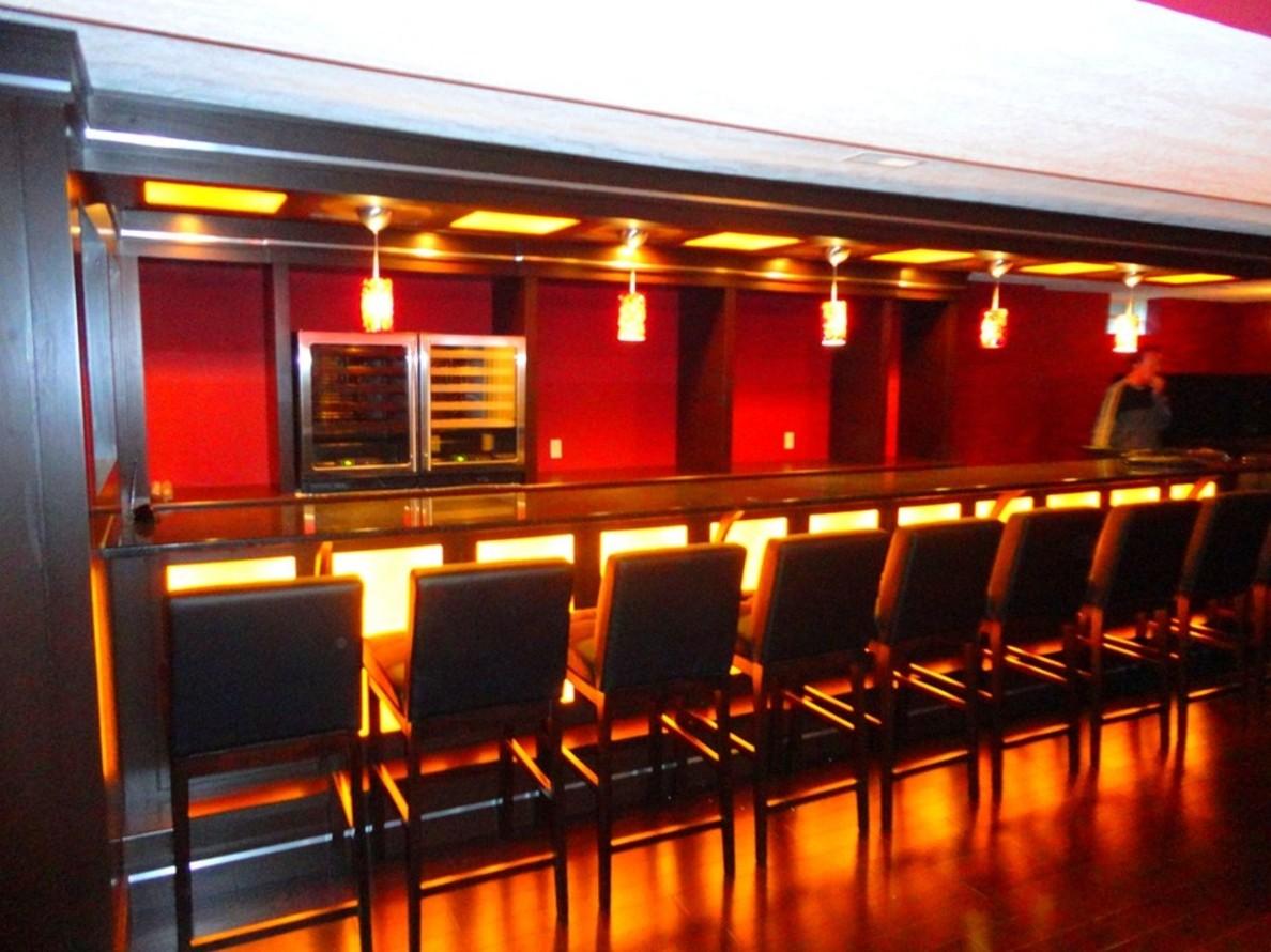Lighting Basement Washroom Stairs: Modern Basement Bar Ideas 21 Arrangement