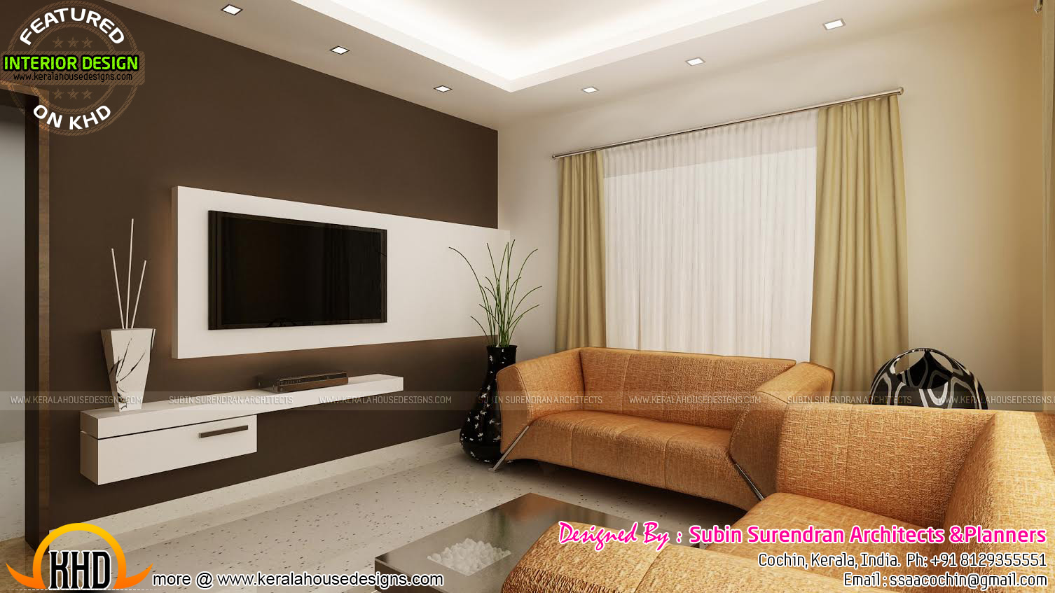 Modern living room kerala style 24 inspiring design for Interior houses design pictures