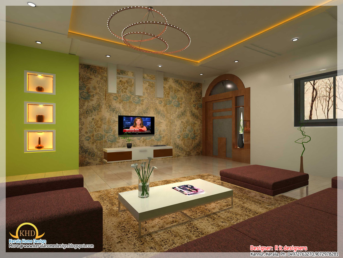 Home interior design kerala style for Kerala house living room interior design