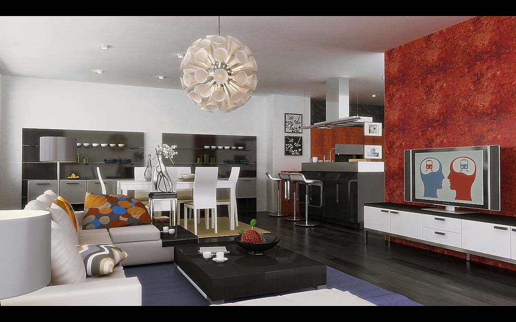 kitchen lounge designs - Kitchen Dining And Living Room Design